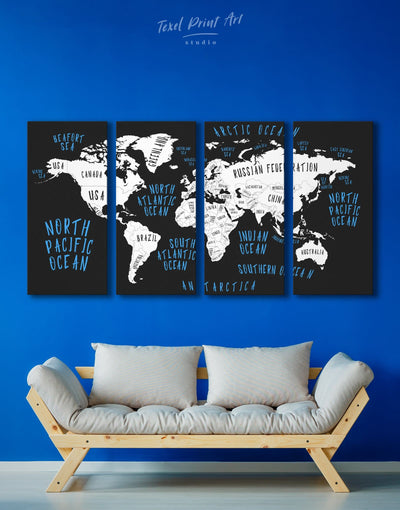 4 Panels Stylish World Map Wall Art Canvas Print - 4 Panels Abstract map bedroom Black blue
