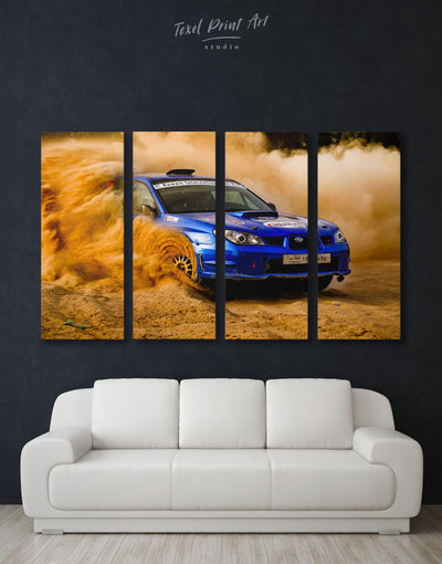 4 Panels Subaru Impreza Sportscar Wall Art Canvas Print - 4 Panels bachelor pad car garage wall art manly wall art