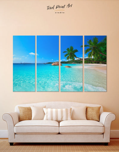 4 Panels Sunny Beach Wall Art Canvas Print - 4 Panels beach wall art bedroom Blue blue wall art for bedroom