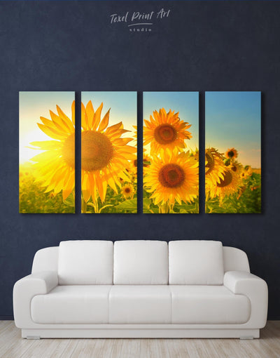 4 Panels Sunny Flowers Wall Art Canvas Print - Canvas Wall Art 4 Panels bedroom flora Floral flower