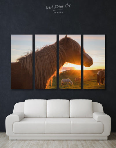 4 Panels Sunset and Horse Wall Art Canvas Print - Canvas Wall Art 4 Panels Animal Animals Hallway horse wall art