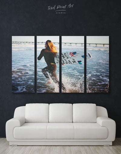 4 Panels Surfboard Wall Art Canvas Print - 4 Panels inspirational wall art Living Room Motivational ocean wall art
