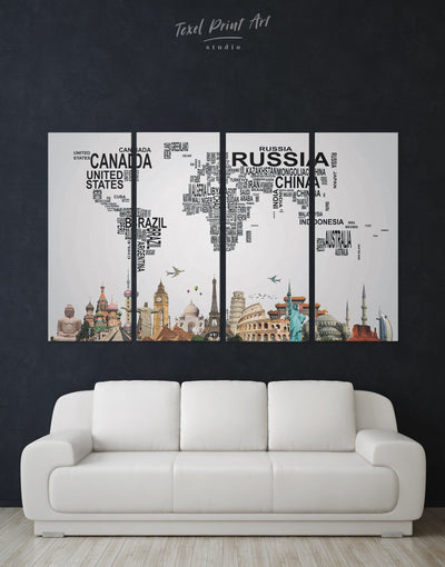 4 Panels Text World Map Wall Art Canvas Print - 4 Panels Abstract map bedroom black geometric world map