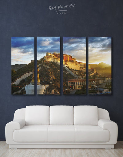 4 Panels Tibetan Palace Wall Art Canvas Print - 4 panels Architectural Wall Art bedroom buddhist wall art Dining room