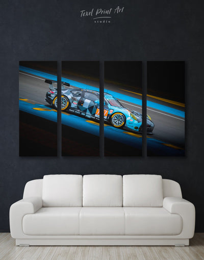 4 Panels Touring Car Racing Wall Art Canvas Print - 4 Panels bachelor pad black blue car