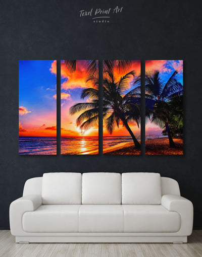 4 Panels Tropics Wall Art Canvas Print - 4 Panels Beach House beach wall art beach wall art for bathroom bedroom