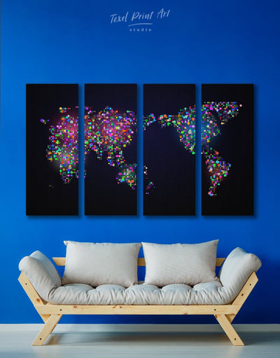 4 Panels Unique World Map Wall Art Canvas Print - World Map Wall Art 4 Panels Abstract map bedroom black Living Room