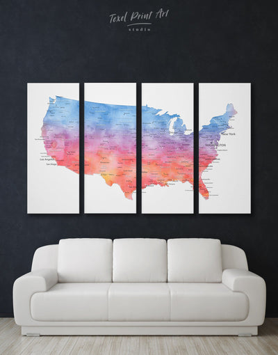 4 Panels United States Map Wall Art Canvas Print - 4 Panels bedroom Blue blue and white contemporary wall art