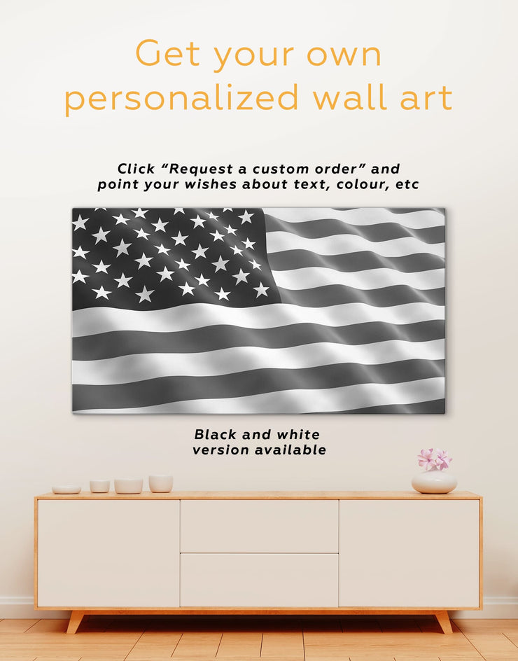 4 Panels United States Wall Art Canvas Print - 4 Panels American flag bedroom blue Flag Wall Art