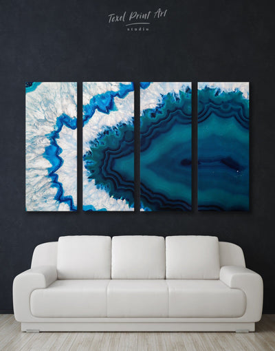 4 Panels Unusual Geode Wall Art Canvas Print - 4 Panels Abstract bedroom blue blue and white