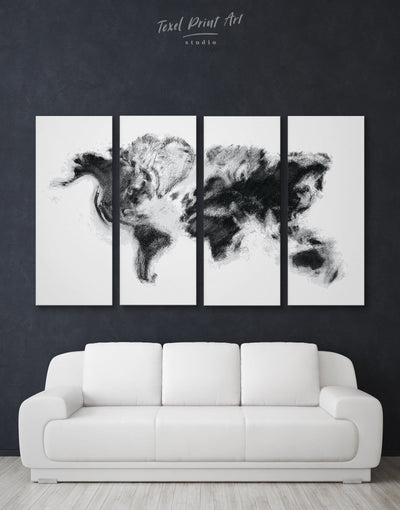 4 Panels Unusual World Map Wall Art Canvas Print - 4 Panels Abstract Abstract map bedroom Black