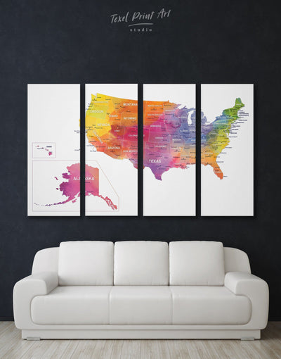 4 Panels USA Map with States Wall Art Canvas Print - 4 Panels bedroom Dining room Hallway Living Room