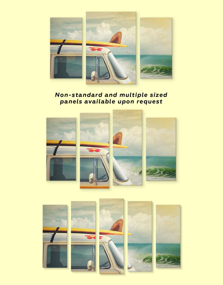 4 Panels Van by the Seaside Wall Art Canvas Print - 4 panels Beach House beach wall art bedroom Car