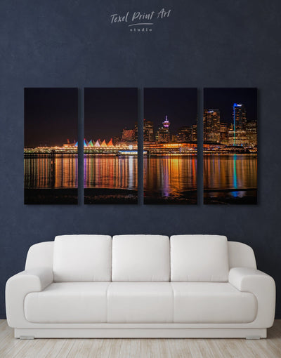 4 Panels Vancouver Skyline Canvas Wall Art - Canvas Wall Art 4 Panels bedroom City Skyline Wall Art Cityscape Dining room