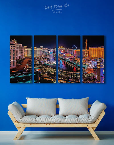 4 Panels Vegas Skyline Canvas Wall Art - Canvas Wall Art 4 Panels bedroom City Skyline Wall Art Cityscape Dining room