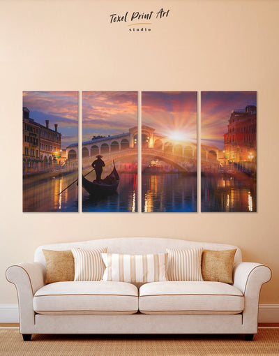 4 Panels Venice Sunset Wall Art Canvas Print - 4 panels bedroom City Skyline Wall Art Cityscape Italy wall art