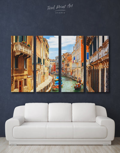 4 Panels Venice Wall Art Canvas Print - 4 panels bedroom City Skyline Wall Art Cityscape Italy wall art