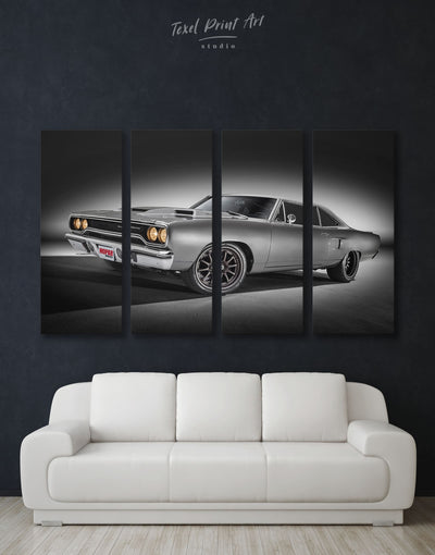 4 Panels Vintage Car Wall Art Canvas Print - 4 Panels bachelor pad bedroom Car garage wall art