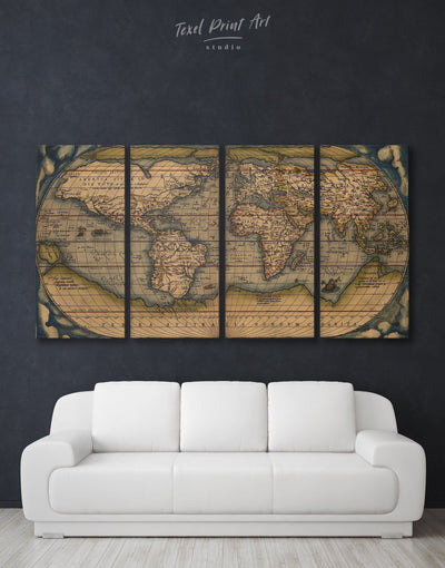 4 Panels Vintage Old World Map Wall Art Canvas Print - 4 panels Antique world map canvas bedroom Brown Hemisphere World Map