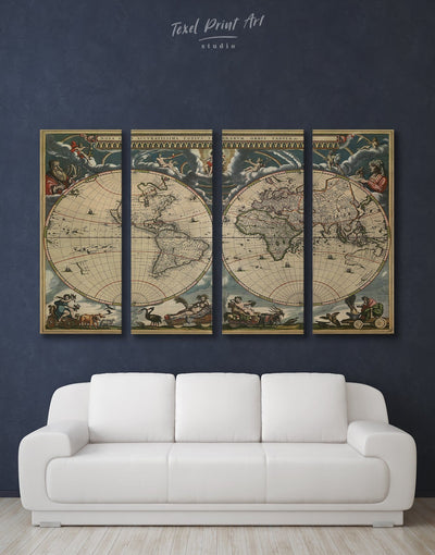 4 Panels Vintage World Map Wall Art Canvas Print - 4 panels Antique Antique world map canvas bedroom Brown