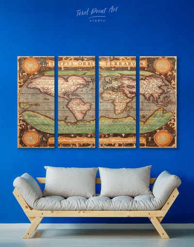 4 Panels Vintage World Wall Art Canvas Print - 4 panels Antique Antique world map canvas bedroom Brown