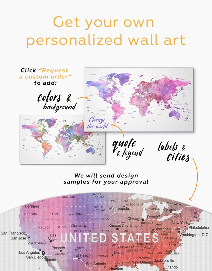 4 Panels Violet Watercolor World Map Wall Art Canvas Print - 4 panels Contemporary contemporary wall art Living Room Office Wall Art