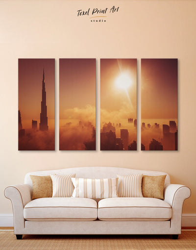 4 Panels Wall Art Dubai Canvas Print - 4 Panels bedroom City Skyline Wall Art Cityscape Dubai