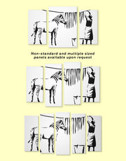 4 Panels Washing Zebra Stripes by Banksy Wall Art Canvas Print