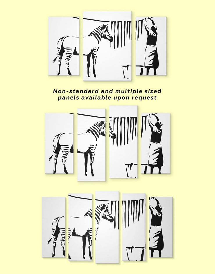 4 Panels Washing Zebra Stripes by Banksy Wall Art Canvas Print - 4 Panels banksy Banksy wall art black black and white wall art