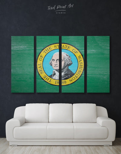 4 Panels Washington State Flag Wall Art Canvas Print - 4 Panels flag wall art green Hallway Living Room