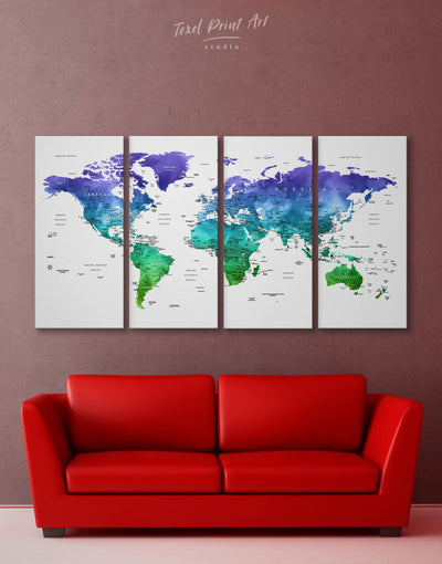 4 Panels Watercolor Green and Blue World Map Wall Art Canvas Print - 4 panels bedroom Blue blue wall art for bedroom Blue wall art for