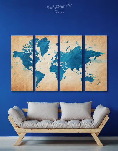 4 Panels Watercolor Map of the World Wall Art Canvas Print - 4 Panels Abstract map bedroom blue Blue Abstract Wall art
