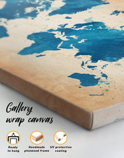 4 Panels Watercolor Map of the World Wall Art Canvas Print