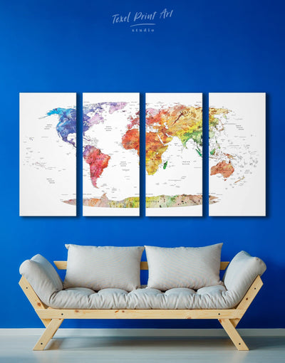 4 Panels Watercolor Travel Map Wall Art Canvas Print - 4 Panels bedroom contemporary wall art map of the world labeled modern wall art