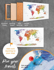 4 Panels Watercolor Travel Map Wall Art Canvas Print