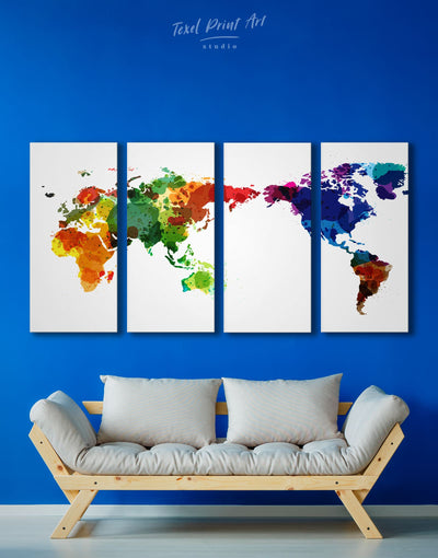 4 Panels Watercolor World Map Wall Art Canvas Print - 4 Panels Abstract map corkboard Hallway Living Room