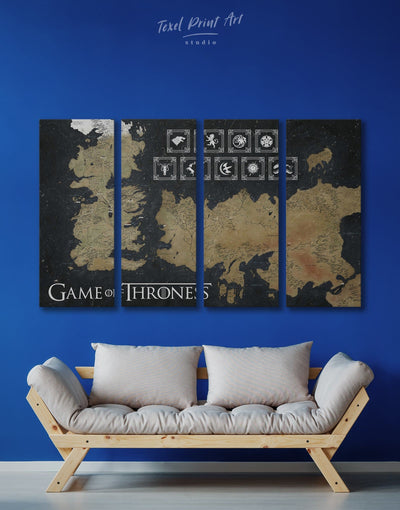 4 Panels Westeros Map with Houses Sigil Wall Art Canvas Print - 4 Panels bedroom black and gold wall art Game of Thrones Library