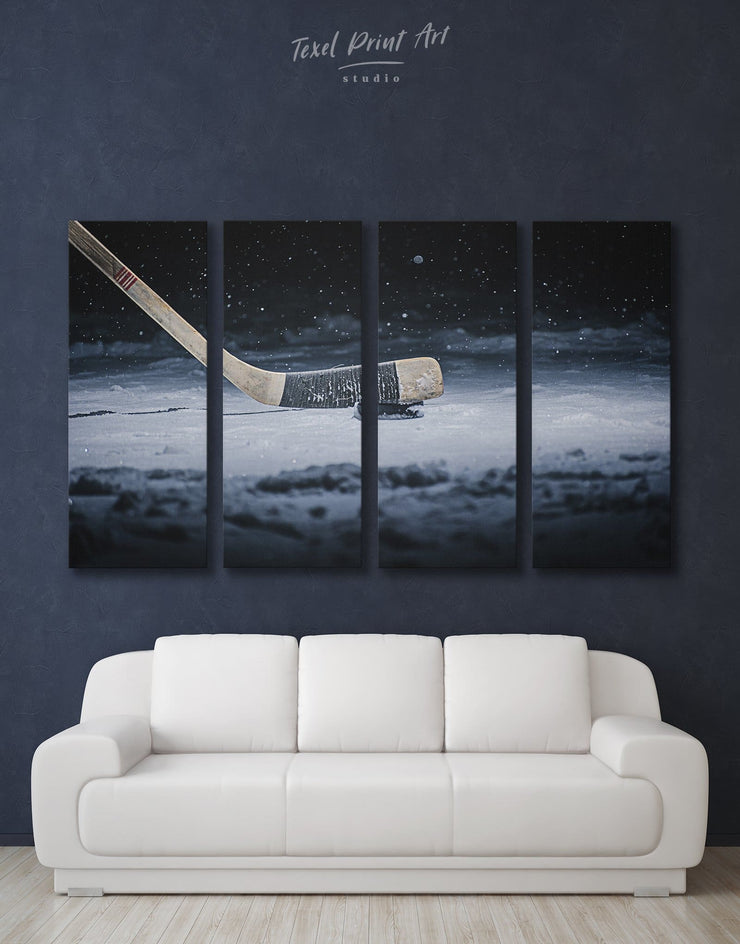 4 Panels Winter Game Hockey Wall Art Canvas Print - 4 panels bachelor pad game room wall art hockey wall art living room wall art