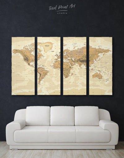 4 Panels World Classic Map Art Canvas Print - 4 Panels bedroom Brown Living Room Office Wall Art