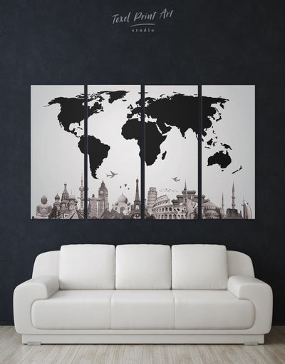 4 Panels World Famous Places Wall Art Canvas Print - 4 Panels Abstract map black Black and white world map corkboard