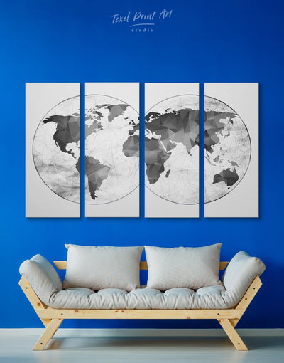 4 Panels World Map Gray Wall Art Canvas Print - 4 panels Abstract map abstract world map wall art bedroom Contemporary