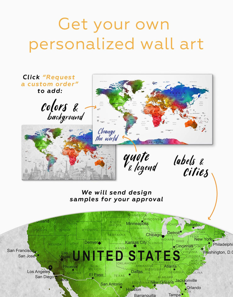4 Panels World Map Sightseeing Wall Art Canvas Print - 4 panels Living Room map of the world labeled modern wall art Office Wall Art