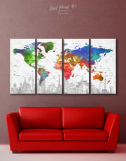 4 Panels World Map Sightseeing Wall Art Canvas Print