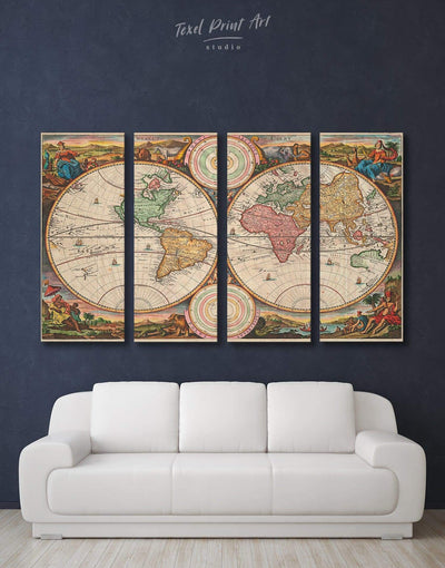 4 Panels World Map Wall Art Canvas Print - 4 Panels Antique world map canvas Library Living Room old world map wall art
