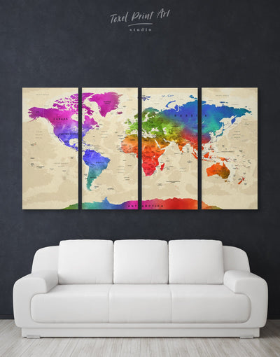 4 Panels World Map with Countries Wall Art Canvas Print - 4 Panels Blue blue and green wall art contemporary wall art Green