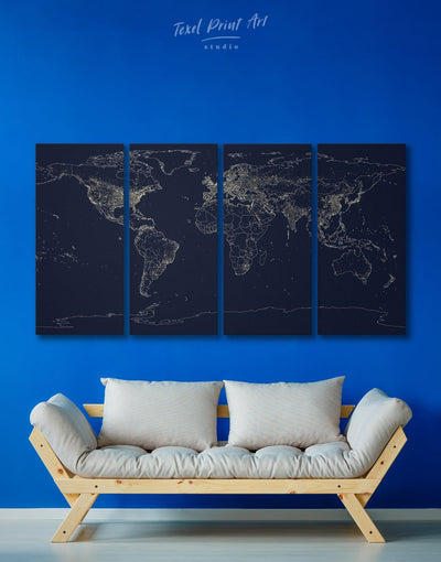 4 Panels World Map with Lights Wall Art Canvas Print - 4 Panels Abstract Abstract map bedroom Contemporary