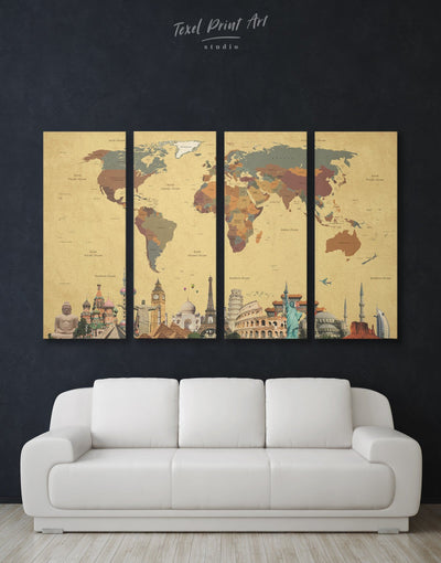 4 Panels World Map with Monuments Wall Art Canvas Print - 4 Panels Abstract Abstract map bedroom Brown