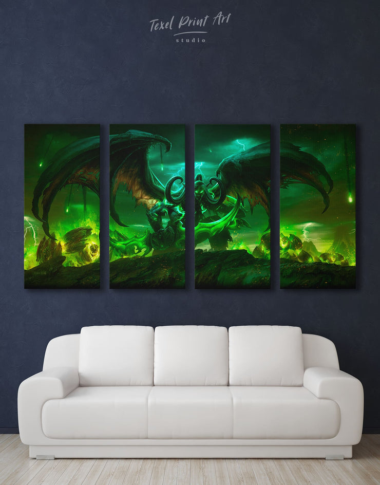 4 Panels World of Warcraft Legion Wall Art Canvas Print - 4 Panels bachelor pad bedroom game room game room wall art