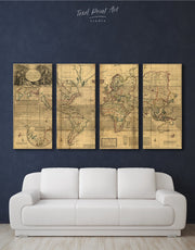 4 Panels World Old Map Wall Art Canvas Print