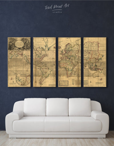 4 Panels World Old Map Wall Art Canvas Print - 4 Panels Antique world map canvas bedroom Brown Library